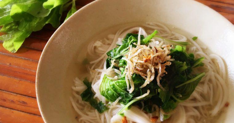 【省時快速料理: 香蒜吻仔魚莧菜麵線】