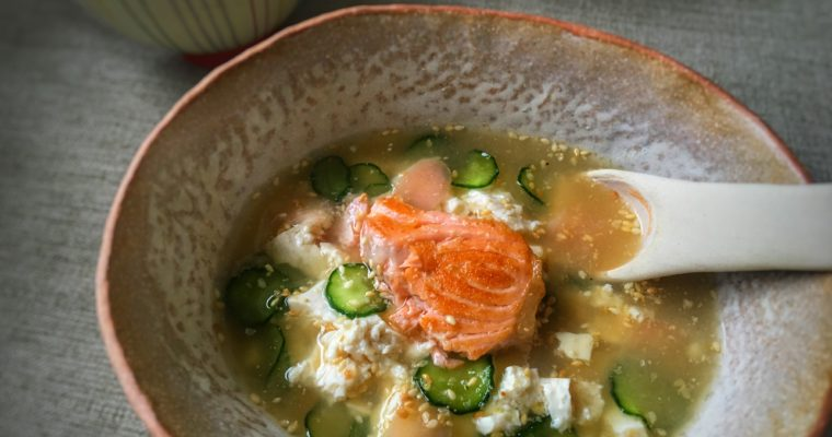 【鮭魚味噌冷泡飯】讓炎熱的夏天舒服點吧!
