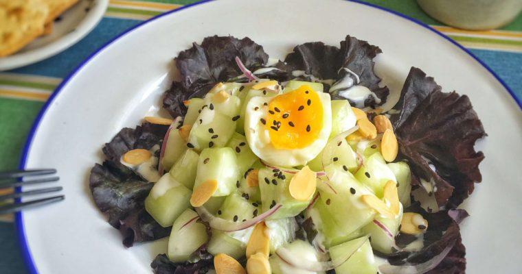 【大黃瓜優格蛋沙拉】消水腫早餐的好選擇